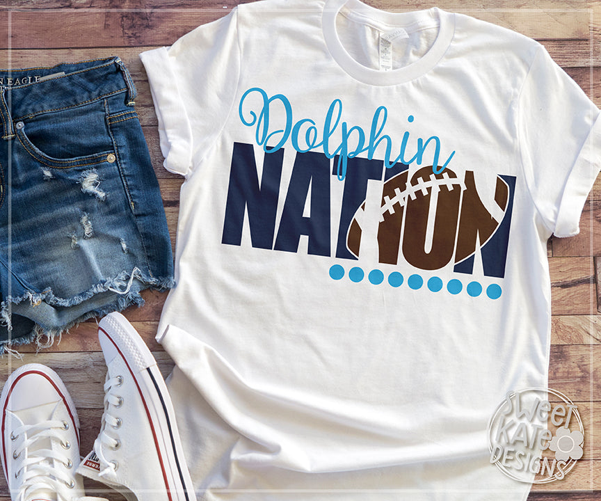 Dolphin Nation with Knockout Football SVG DXF EPS PNG JPG - Sweet Kate Designs