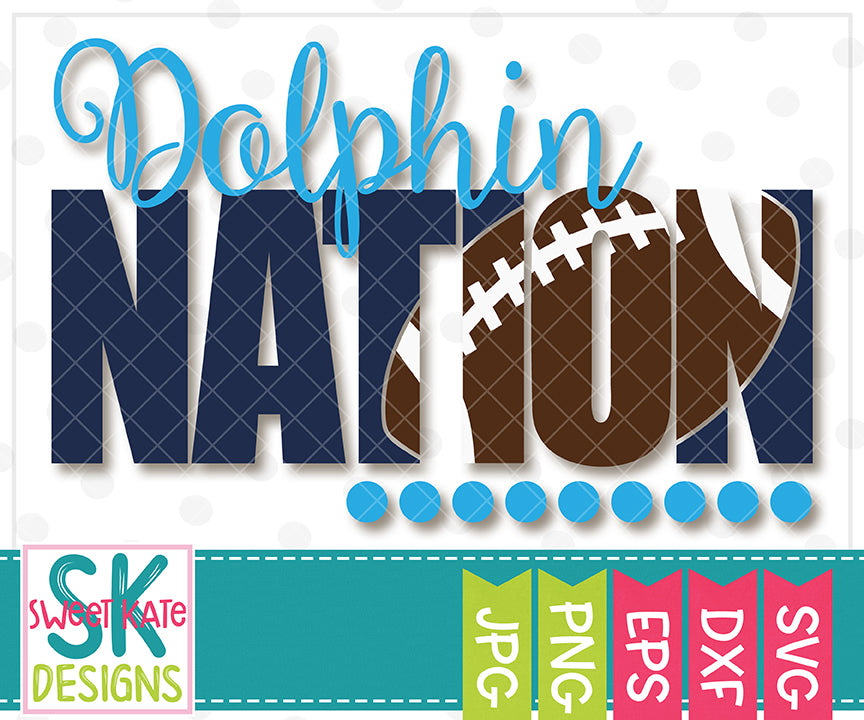 *NEW* Dolphin Nation with Knockout Football SVG DXF EPS PNG JPG - Sweet Kate Designs