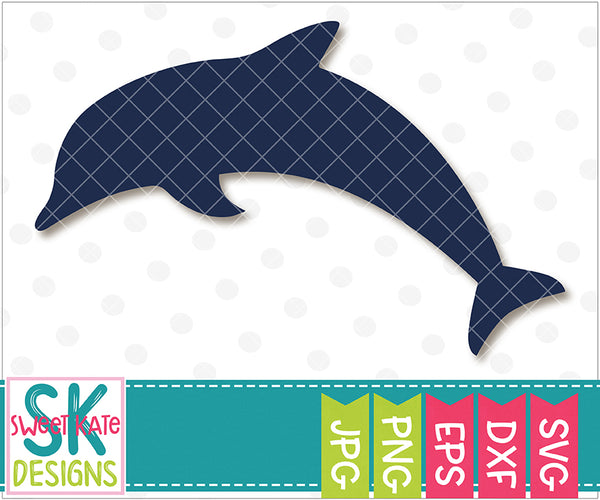 Dolphin Silhouette SVG DXF EPS PNG JPG - Sweet Kate Designs