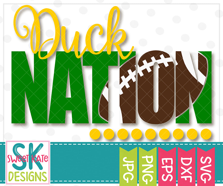 Duck Nation with Knockout Football SVG DXF EPS PNG JPG - Sweet Kate Designs