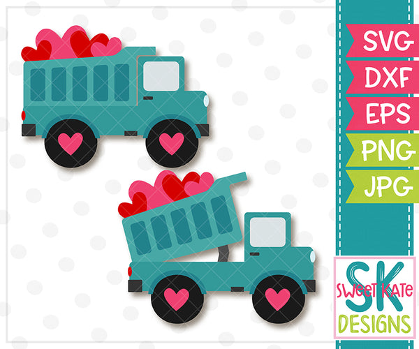 Dump Truck Full of Hearts SVG DXF EPS PNG JPG - Sweet Kate Designs