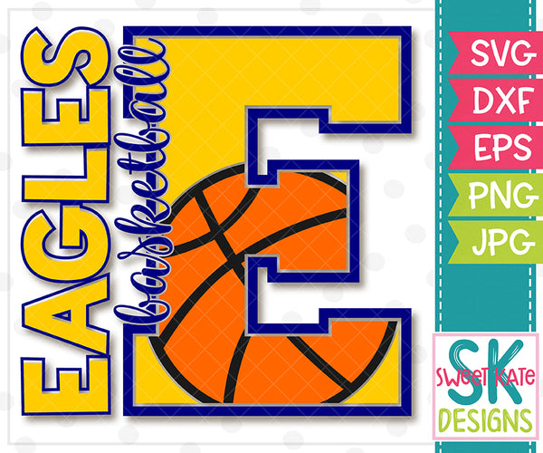 E Eagles Basketball SVG DXF EPS PNG JPG - Sweet Kate Designs