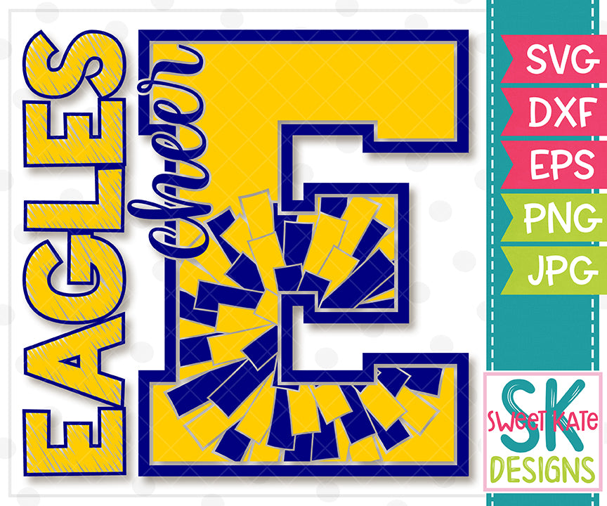 E Eagles Cheer SVG DXF EPS PNG JPG - Sweet Kate Designs