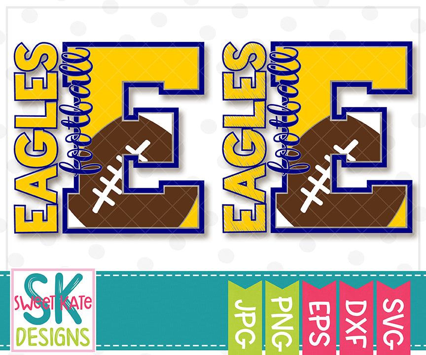 E Eagles Football SVG DXF EPS PNG JPG - Sweet Kate Designs