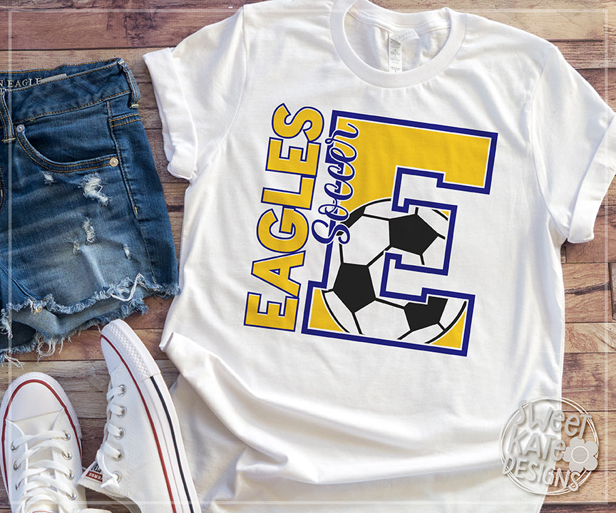 E Eagles Soccer SVG DXF EPS PNG JPG - Sweet Kate Designs