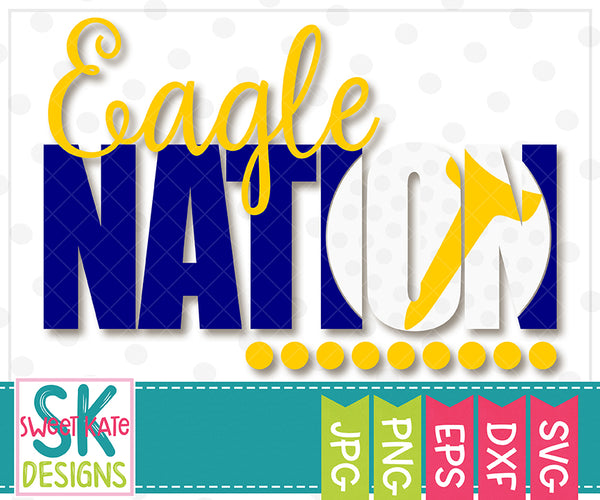 Eagle Nation with Knockout Golf Ball SVG DXF EPS PNG JPG - Sweet Kate Designs