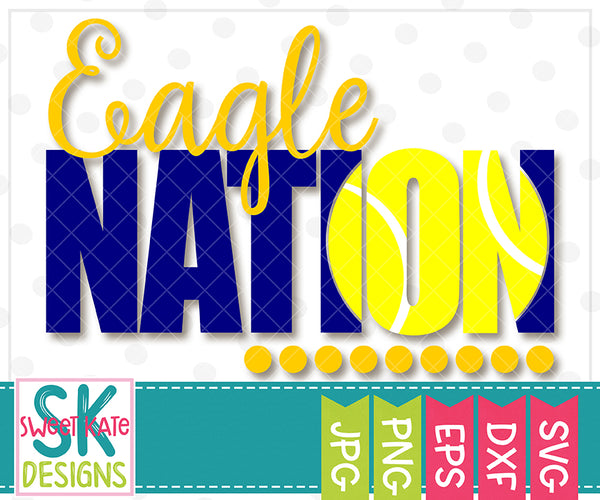 Eagle Nation with Knockout Tennis Ball SVG DXF EPS PNG JPG - Sweet Kate Designs
