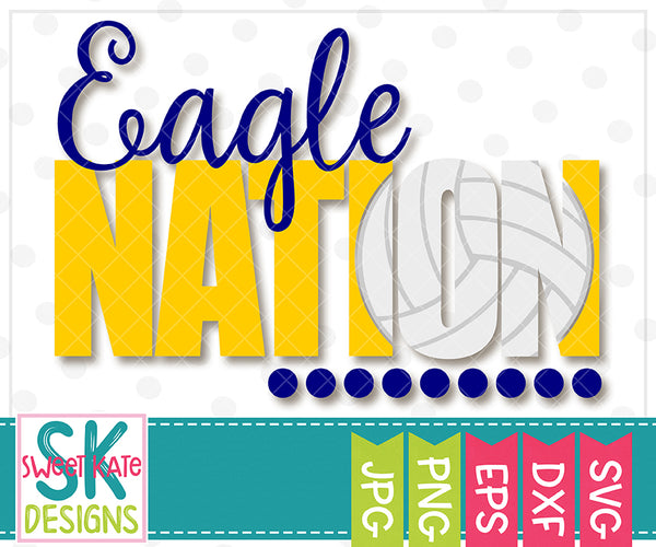 Eagle Nation with Knockout Volleyball SVG DXF EPS PNG JPG - Sweet Kate Designs