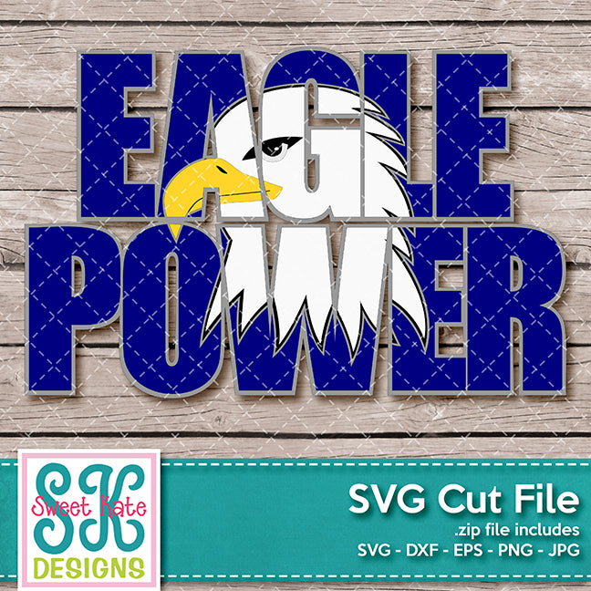 Eagle Power with Knockout Eagle Head SVG DXF EPS PNG JPG - Sweet Kate Designs