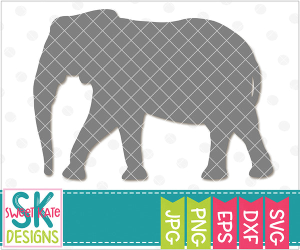 Elephant Silhouette SVG DXF EPS PNG JPG - Sweet Kate Designs
