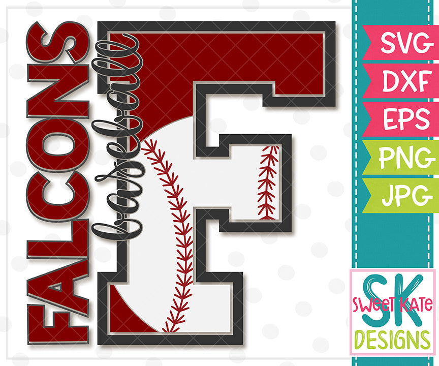 F Falcons Baseball SVG DXF EPS PNG JPG - Sweet Kate Designs
