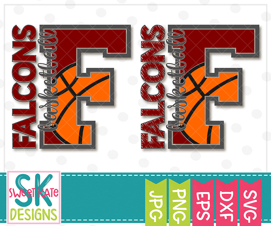 F Falcons Basketball SVG DXF EPS PNG JPG - Sweet Kate Designs