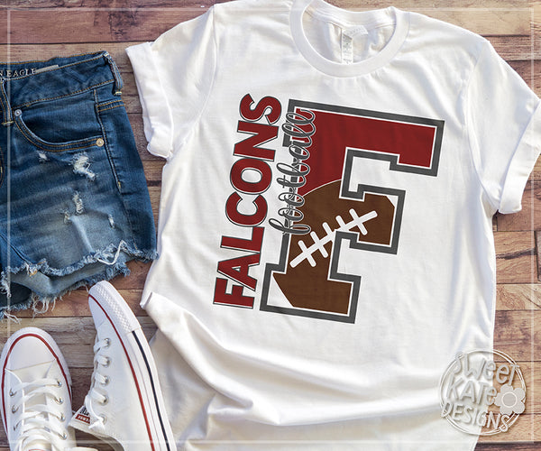 F Falcons Football SVG DXF EPS PNG JPG - Sweet Kate Designs