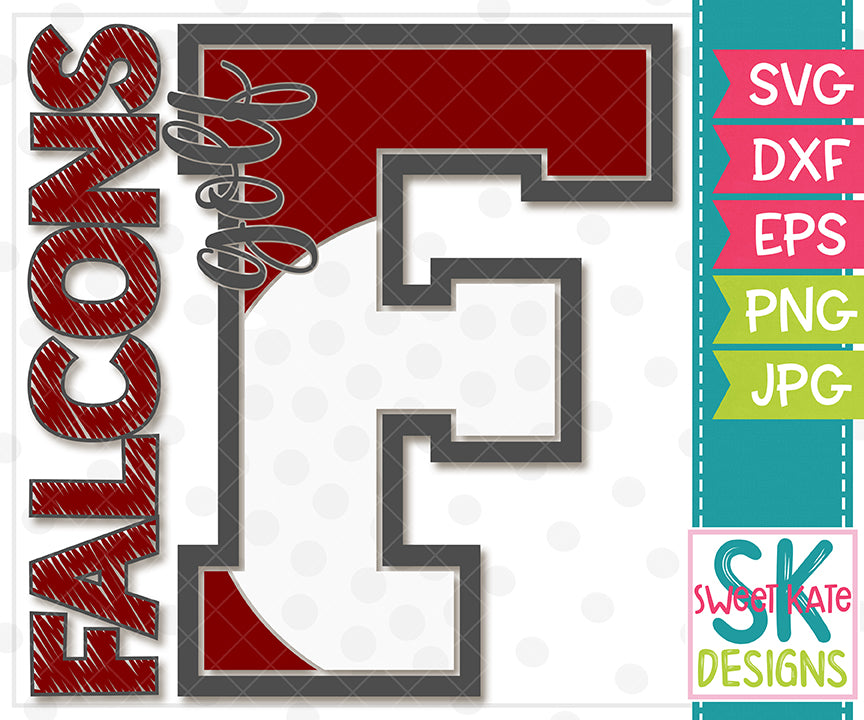 F Falcons Golf SVG DXF EPS PNG JPG - Sweet Kate Designs