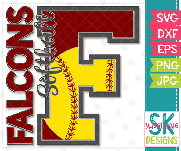 F Falcons Softball SVG DXF EPS PNG JPG - Sweet Kate Designs