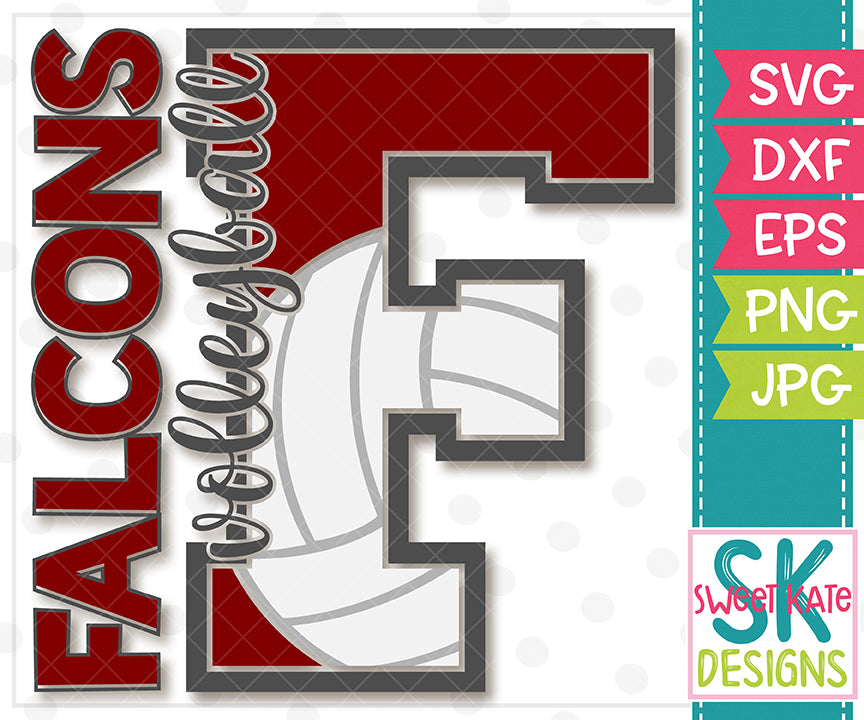 F Falcons Volleyball SVG DXF EPS PNG JPG - Sweet Kate Designs