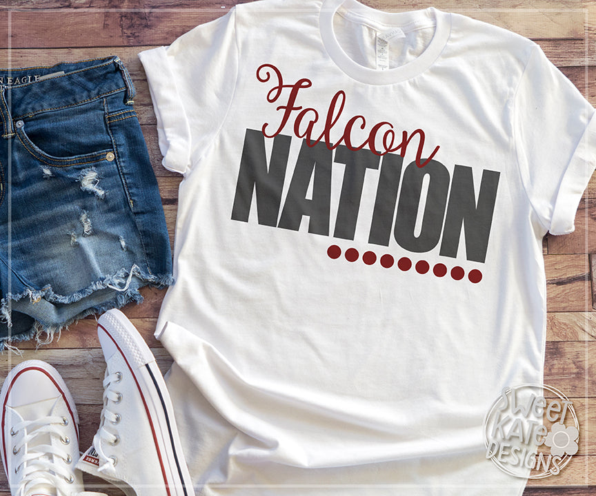 Falcon Nation SVG DXF EPS PNG JPG - Sweet Kate Designs