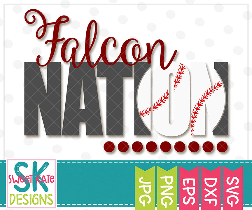 Falcon Nation with Knockout Baseball or Softball SVG DXF EPS PNG JPG - Sweet Kate Designs