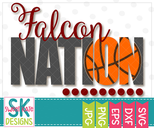 Falcon Nation with Knockout Basketball SVG DXF EPS PNG JPG - Sweet Kate Designs