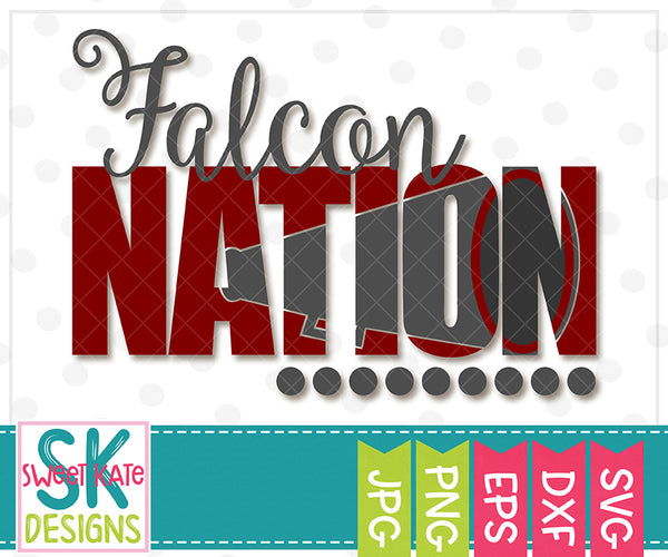Falcon Nation with Knockout Cheer Megaphone SVG DXF EPS PNG JPG - Sweet Kate Designs