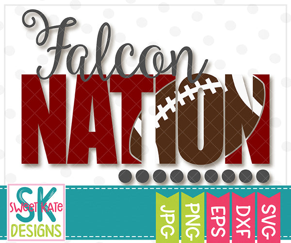 Falcon Nation with Knockout Football SVG DXF EPS PNG JPG - Sweet Kate Designs