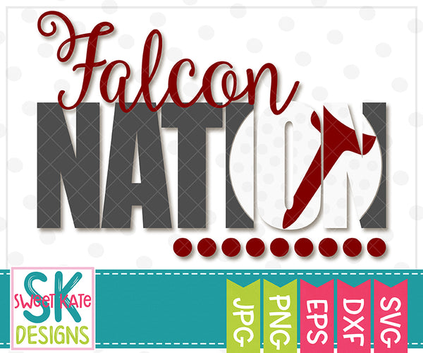 Falcon Nation with Knockout Golf Ball SVG DXF EPS PNG JPG - Sweet Kate Designs