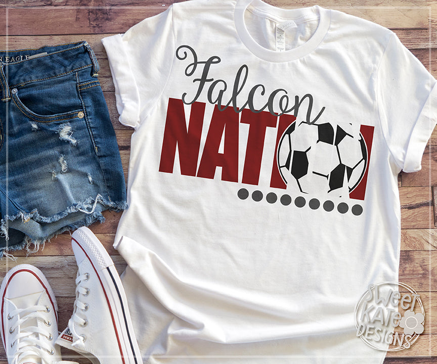 Falcon Nation with Knockout Soccer Ball SVG DXF EPS PNG JPG - Sweet Kate Designs