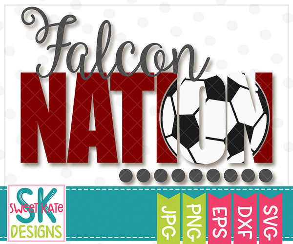 Falcon Nation with Knockout Soccer Ball SVG DXF EPS PNG JPG