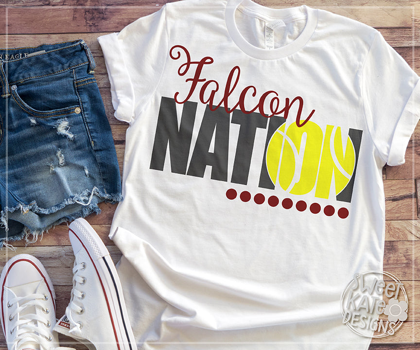 Falcon Nation with Knockout Tennis Ball SVG DXF EPS PNG JPG - Sweet Kate Designs