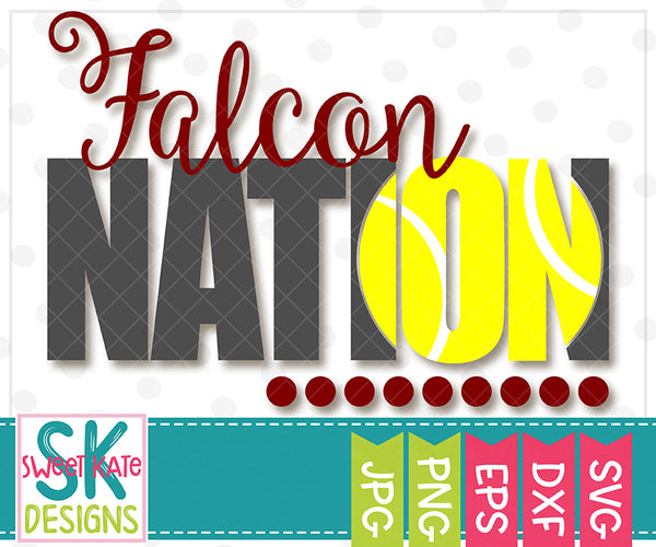 *NEW* Falcon Nation with Knockout Tennis Ball SVG DXF EPS PNG JPG - Sweet Kate Designs