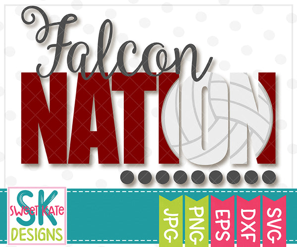 Falcon Nation with Knockout Volleyball SVG DXF EPS PNG JPG - Sweet Kate Designs