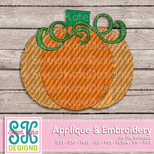 Fall Pumpkin Mini Fill Stitch Embroidery - Sweet Kate Designs