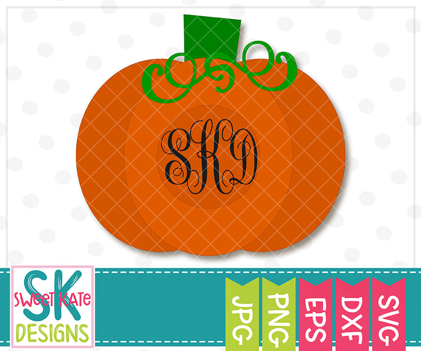 Fall Pumpkin with Monogram Option SVG DXF EPS PNG JPG - Sweet Kate Designs