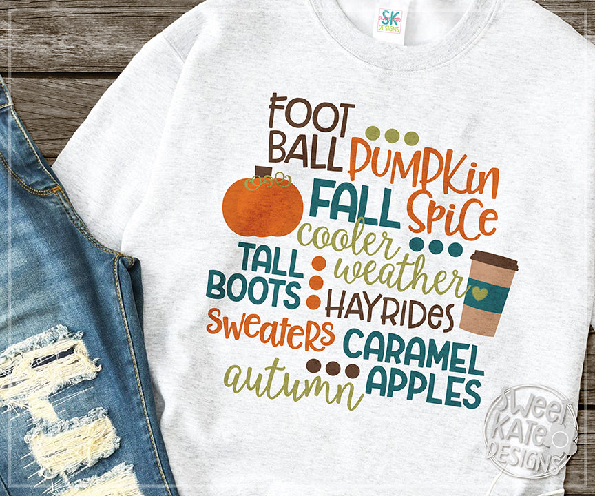 Fall Words SVG DXF EPS PNG JPG