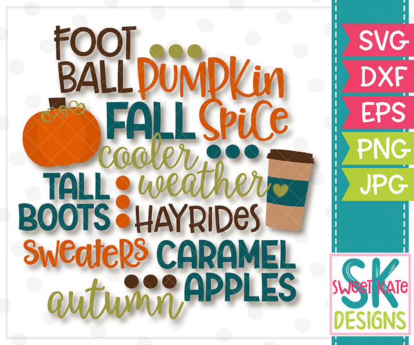 Fall Words SVG DXF EPS PNG JPG - Sweet Kate Designs