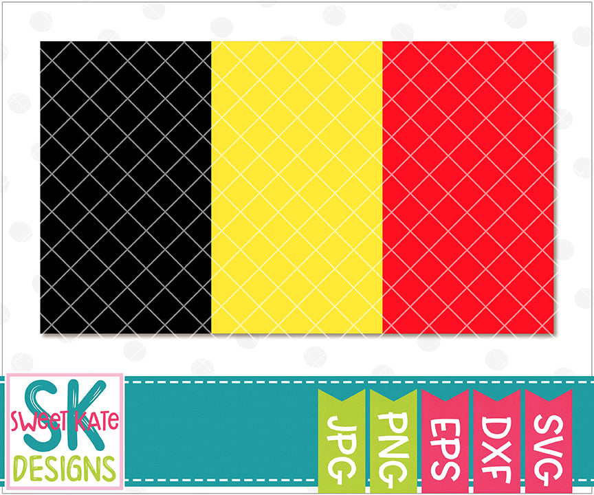Flag of Belgium with Monogram Option SVG DXF EPS PNG JPG - Sweet Kate Designs