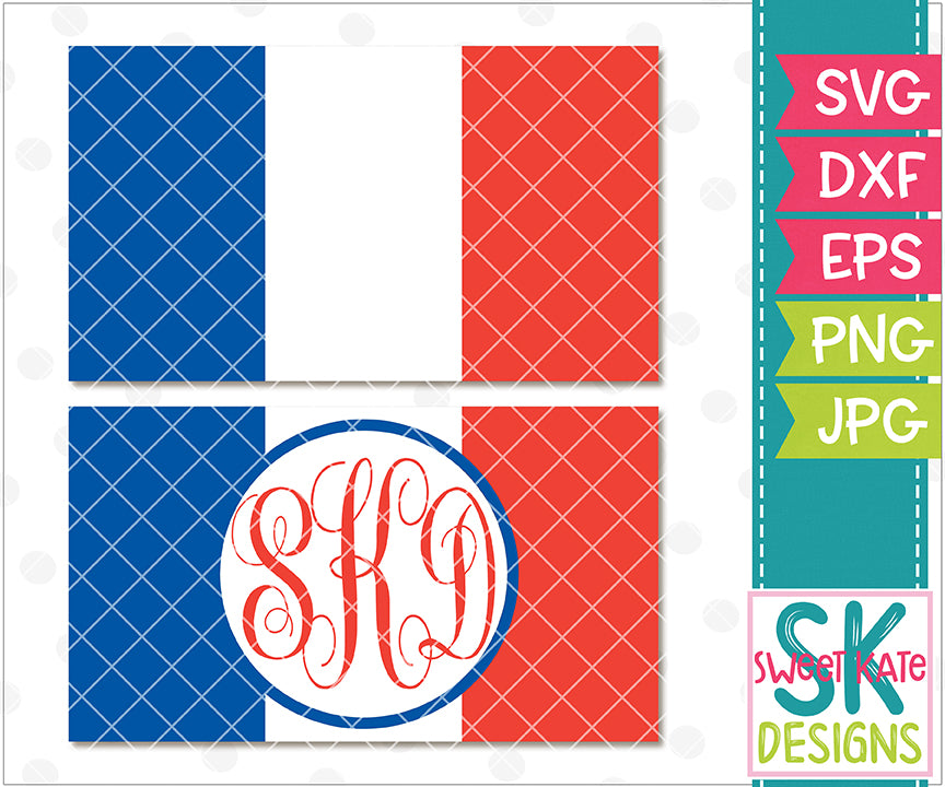 Flag of France with Monogram Option SVG DXF EPS PNG JPG - Sweet Kate Designs