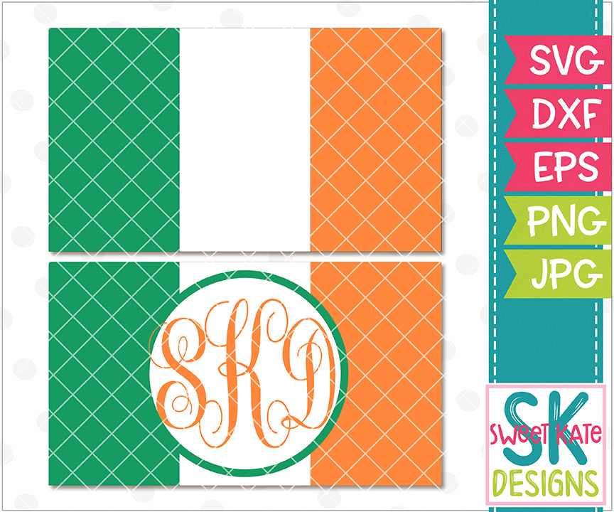 Flag of Ireland with Monogram Option SVG DXF EPS PNG JPG - Sweet Kate Designs
