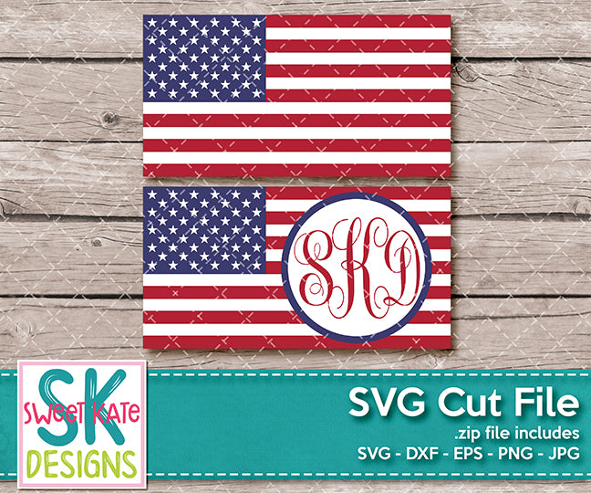 Flag of the United States with Monogram Option SVG DXF EPS PNG JPG - Sweet Kate Designs