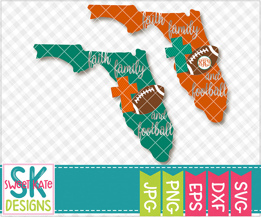 Florida Faith Family & Football SVG DXF EPS PNG JPG - Sweet Kate Designs