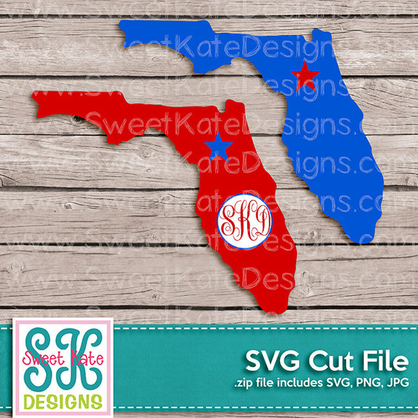 Florida with Monogram Option SVG - Sweet Kate Designs