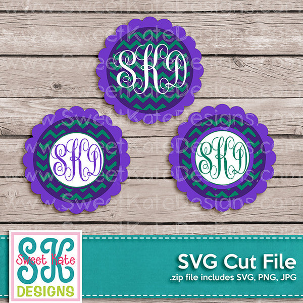 Flower Circle Monogram Chevron SVG - Sweet Kate Designs