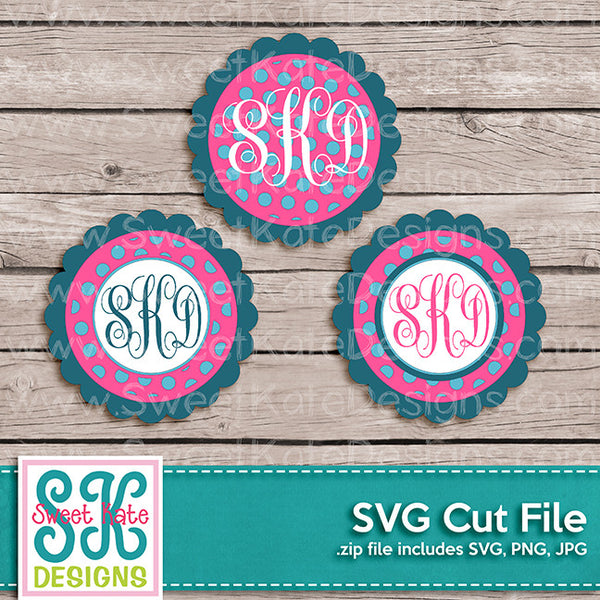 Flower Circle Monogram Polka Dot SVG - Sweet Kate Designs