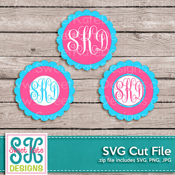 Flower Circle Monogram SVG - Sweet Kate Designs
