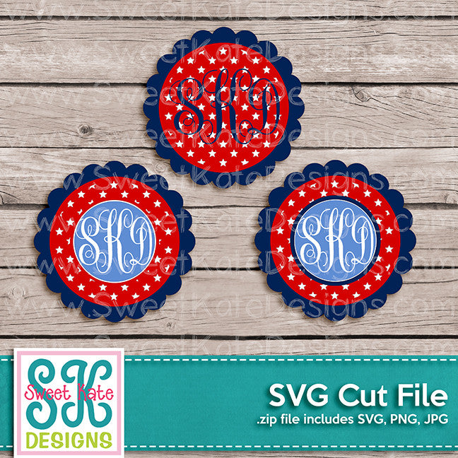 Flower Circle Monogram Stars SVG - Sweet Kate Designs