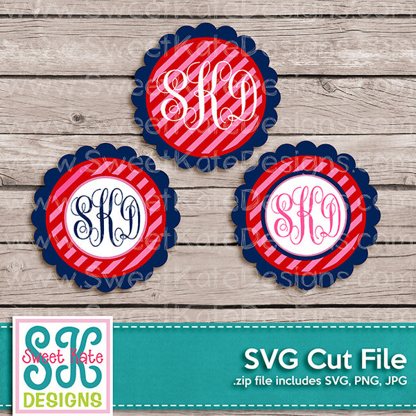Flower Circle Monogram Stripe SVG - Sweet Kate Designs