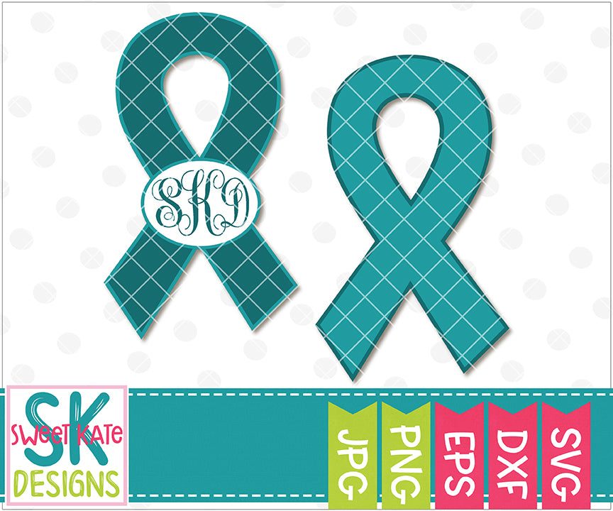 Food Allergy Awareness Teal Ribbon with Monogram Option SVG DXF EPS PNG JPG - Sweet Kate Designs