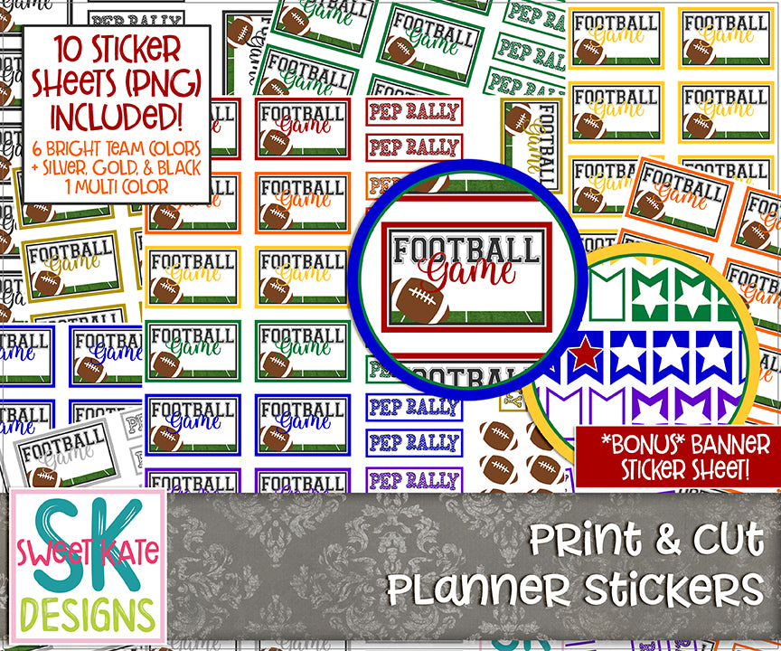 Print & Cut Planner Stickers: Football Game + Pep Rally