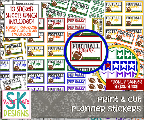 Print & Cut Planner Stickers: Football Game + Pep Rally - Sweet Kate Designs