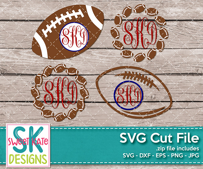 Football Monograms SVG DXF EPS PNG JPG - Sweet Kate Designs